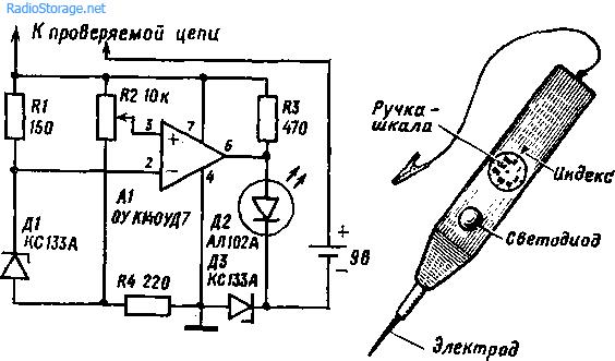 Пробник-анализатор электрических цепей на К140УД7