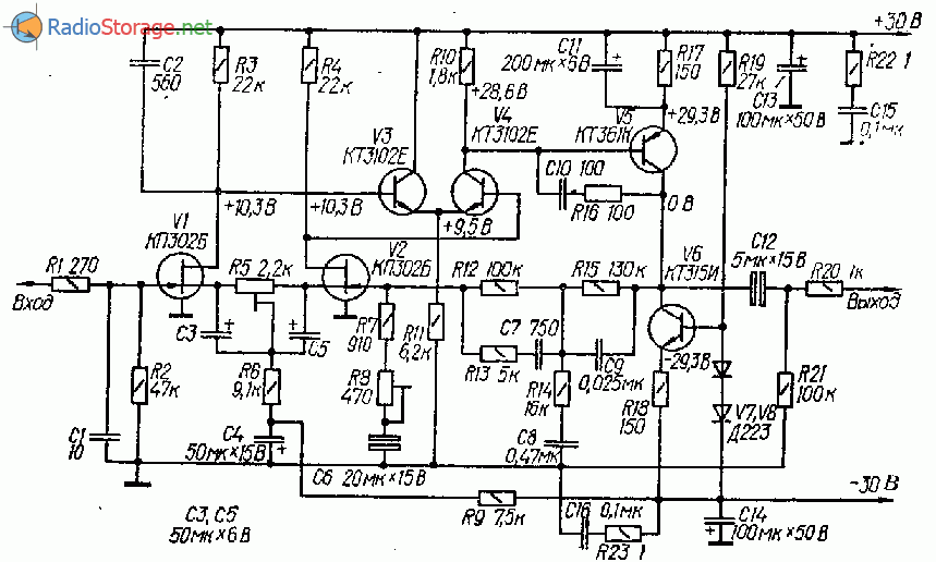 Предусилитель корректор на полевых транзисторах