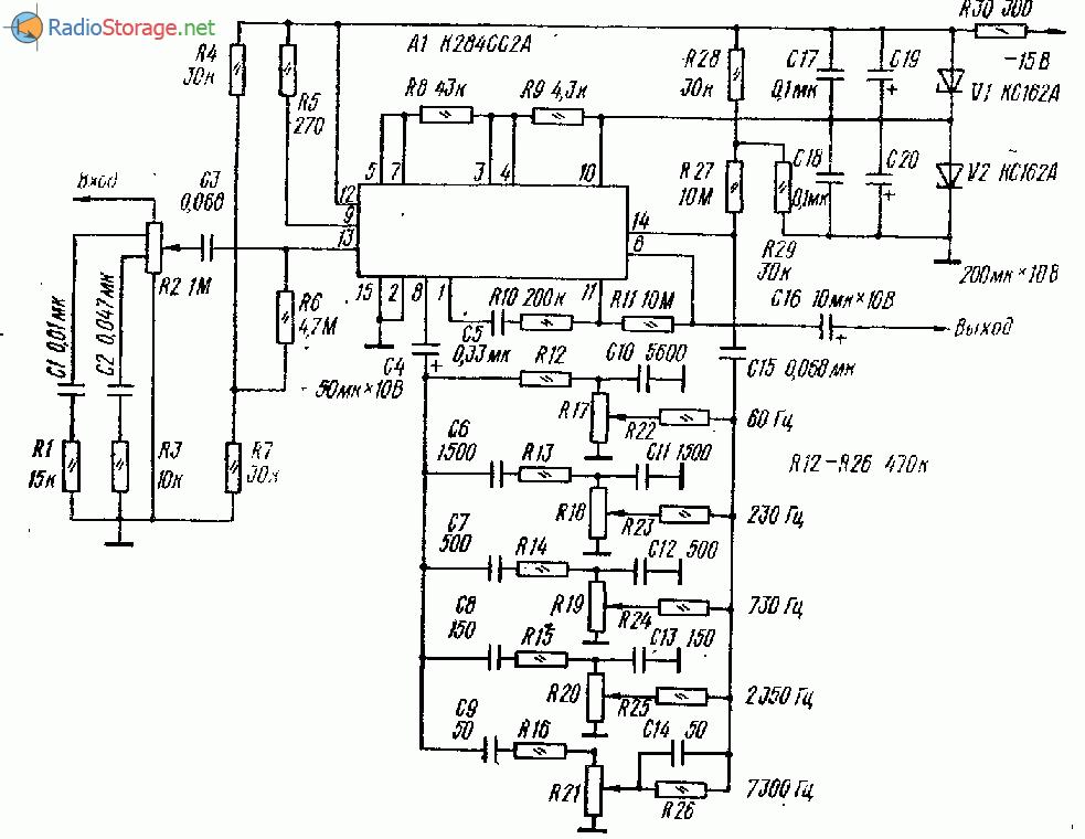 Схема предварительного усилителя на микросхеме К284СС2