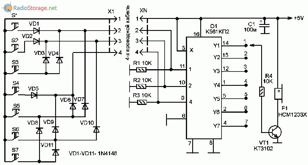 Схема электронного звонка для оповещения на 7 каналов