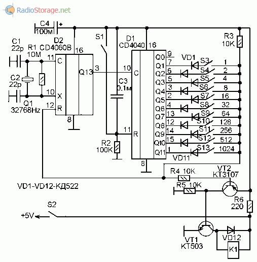 Принципиальная схема таймера на микросхемах CD4060B, CD4040