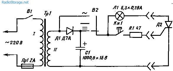 Схема простого испытателя тиристоров