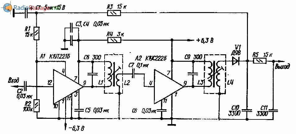 Тракт промежуточной частоты на микросхемах К1УС221Б, К1УС222Б