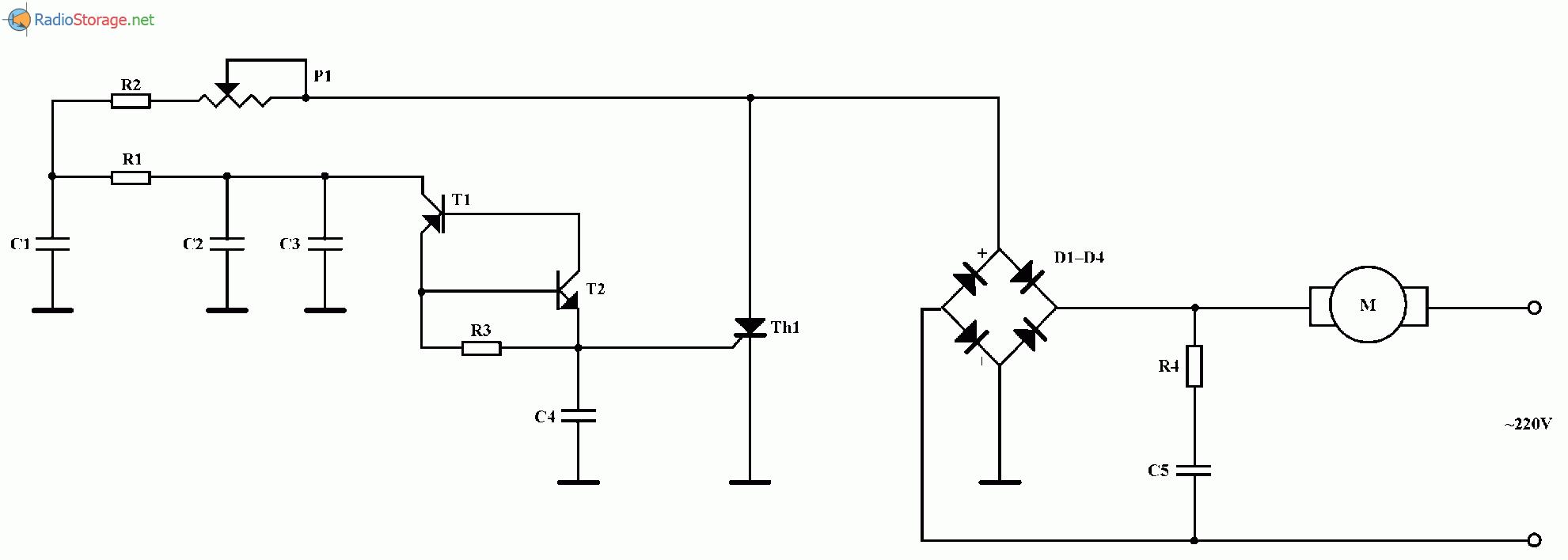 Простой регулятор оборотов для электродрели, схема