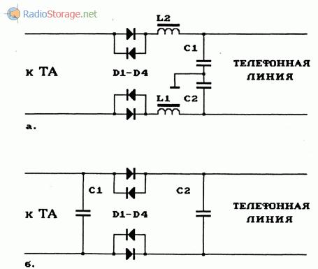 Схемы внешних фильтров комплексной защиты звонка и микрофона неактивного телефонных аппаратов