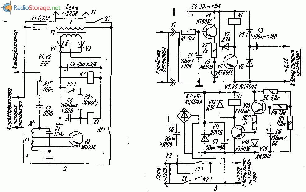Схемы автоматических выключателей телевизоров