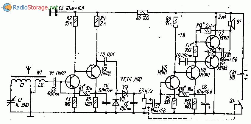 Громкоговорящий СВ-ДВ приемник на шести транзисторах, схема