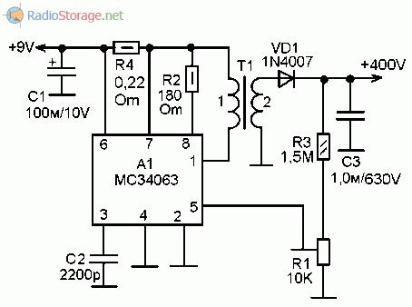 Принципиальная схема преобразователя напряженияиз 9В в +400В для счетчика Гейгера на микросхеме MC34063