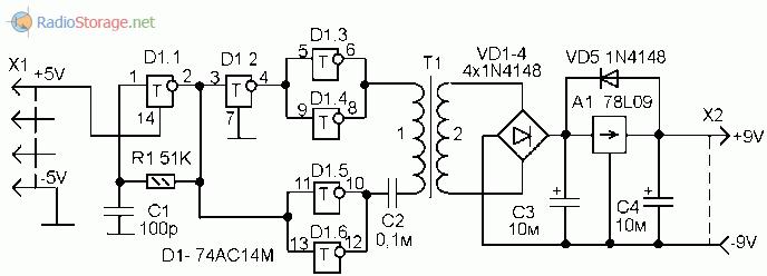 Схема преобразователя напряжения 5В - 9В для питания мультиметра от USB
