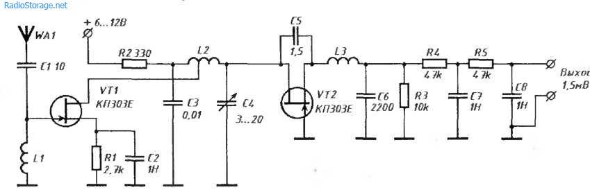 Сверхрегенеративный УКВ-приемник 88-108МГц (КП303)