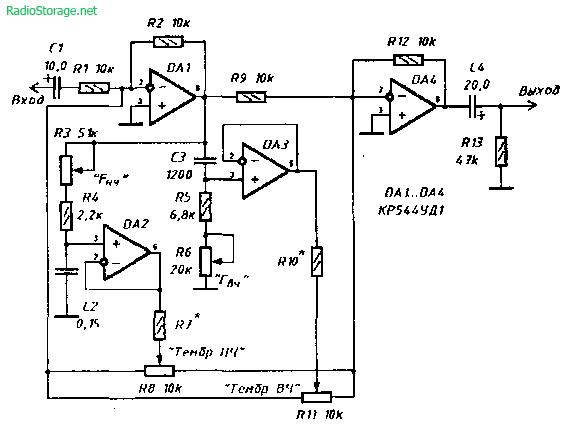 Схема простого параметрического эквалайзера на КР544УД1