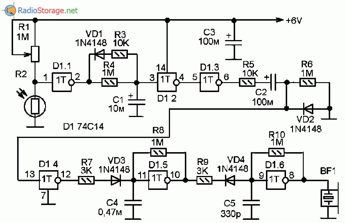 Принципиальная схема фотореле с сигнализатором и задержкой оповещения