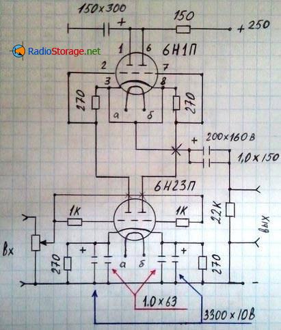 Принципиальная схема лампового усилителя для наушников