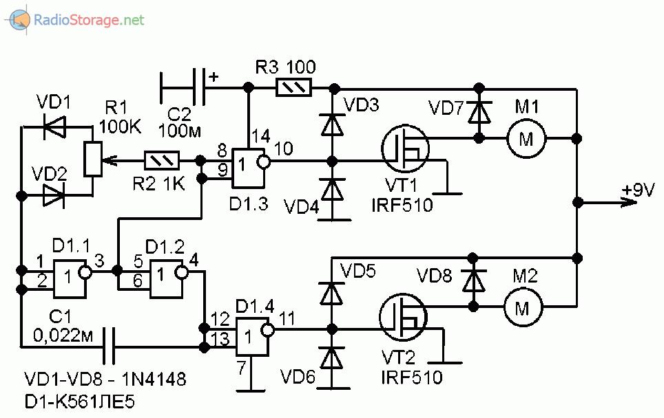 Рулевая машинка для модели с двумя электродвигателями (К561ЛЕ5, IRF510)
