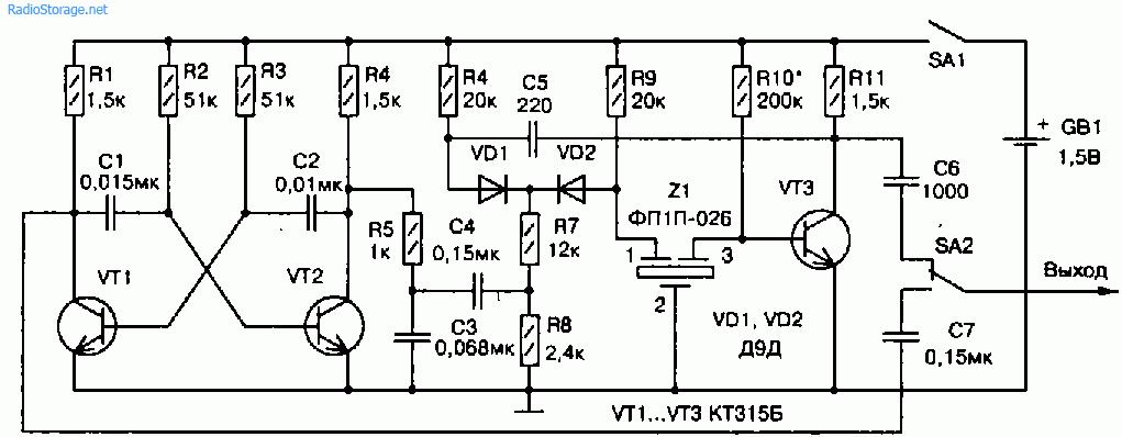 Принципиальная схема генератора-пробника для усилителей и приемников