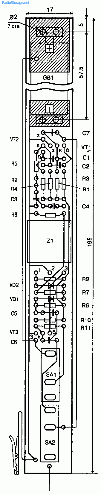 Печатная плата и монтаж на ней деталей генератора-пробника с использованием  пьезофильтра