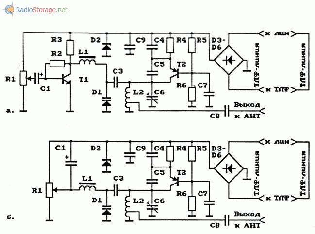 Схемы телефонных ЧМ-ретрансляторов на биполярных транзисторах