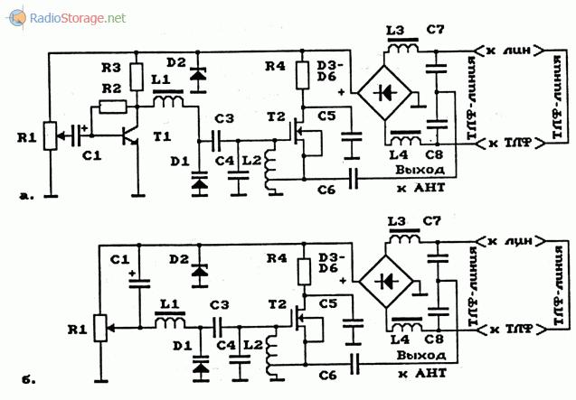 Схемы телефонных ЧМ-ретрансляторов на МОП - транзисторах