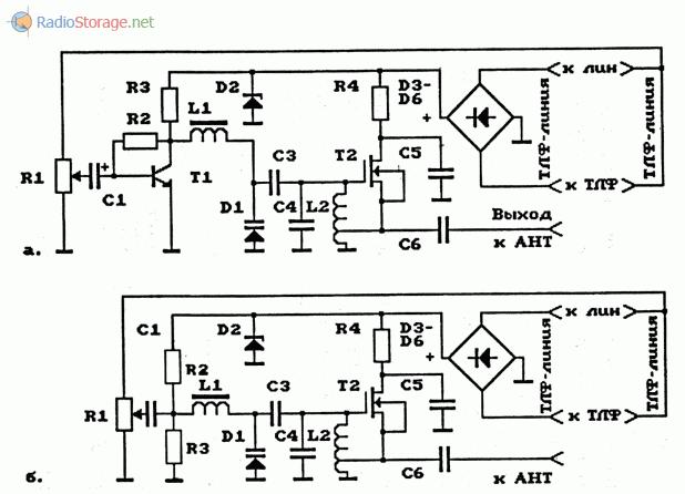 Схемы телефонных УКВ и FM ретрансляторов на МОП-транзисторах
