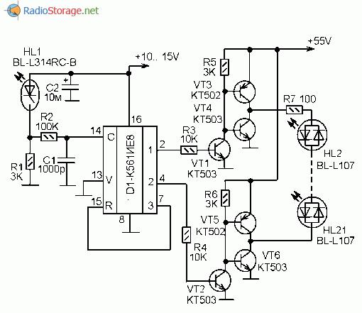 Схема двухцветной светодиодной гирлянды на микросхеме К561ИЕ8