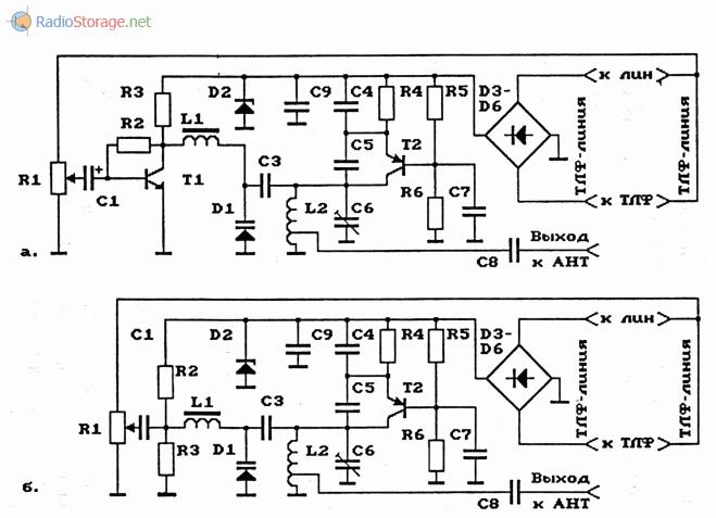 Схемы телефонных УКВ и FM ретрансляторов на биполярных транзисторах