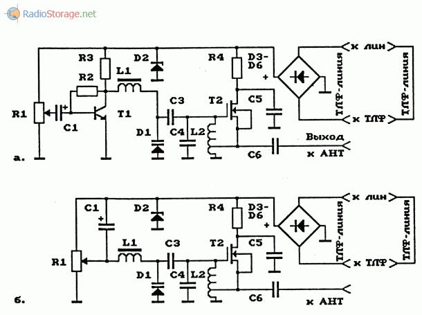 Схемы телефонных чм-ретрансляторов на МОП-транзисторах