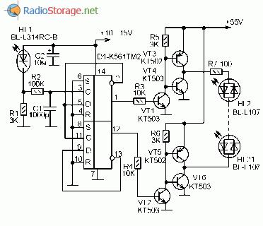 Схема двухцветной светодиодной гирлянды на микросхеме К561ТМ2