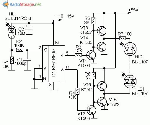 Принципиальная схема управления гирляндой на двухцветных светодиодах