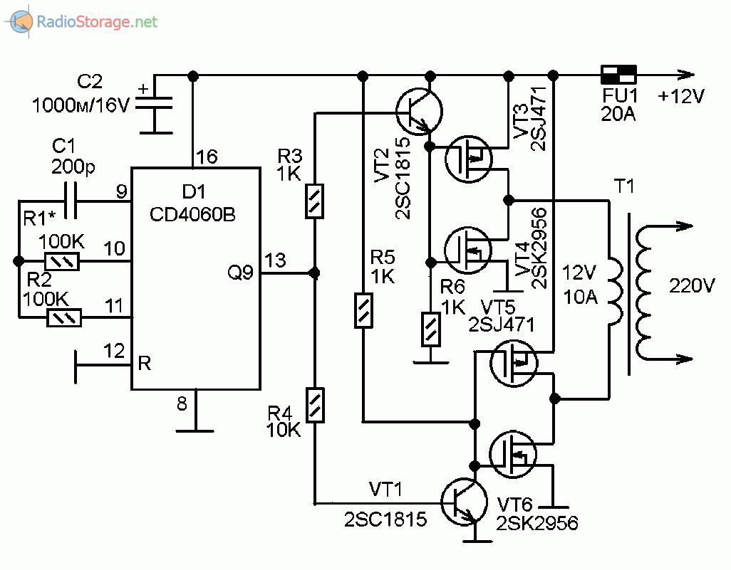 Принципиальная схема простого самодельного инвертора напряжения из 12В в 220В на микросхеме CD4060
