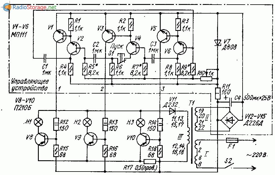 Транзисторный переключатель гирлянд с плавным включением