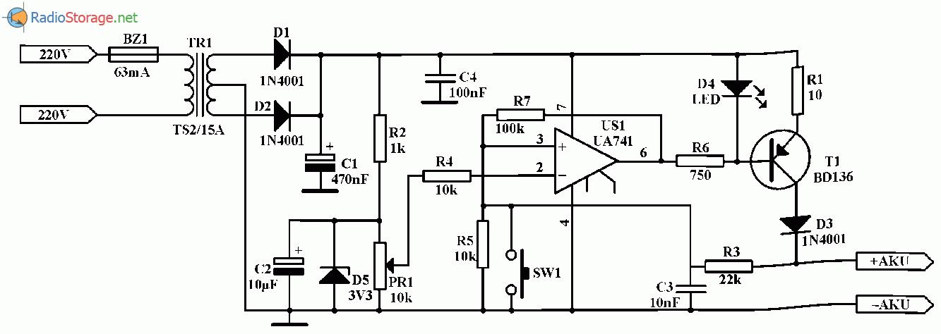 Зарядное устройство для никель-кадмиевых аккумуляторов (0,5 -1А/ч), схема