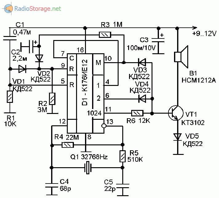 Принципиальная схема сигнализатора с таймером на микросхеме К176ИЕ12