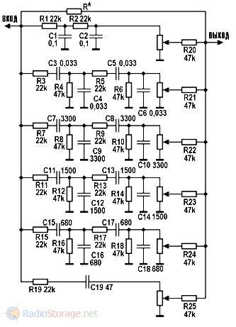 Схема шестиполосного пассивного эквалайзера (регулятора тембра)