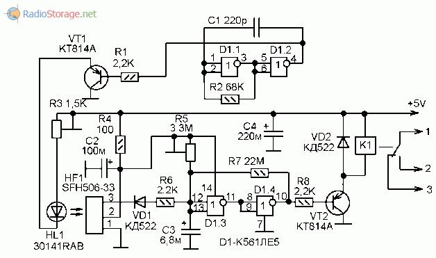Принципиальная схема оптического датчика на ИК-лучах