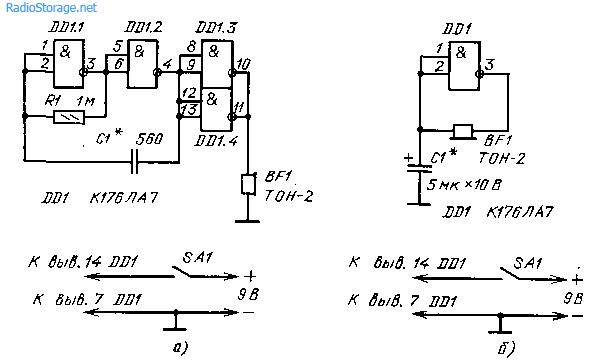 Звуковые генераторы для изучения телеграфной азбуки (155ЛА3, 176ЛА7)