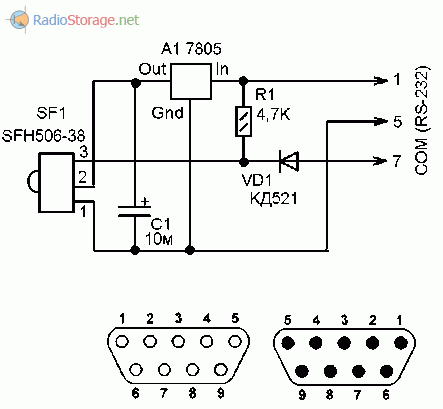 Принципиальная схема приставки для управления компьютером через пульт