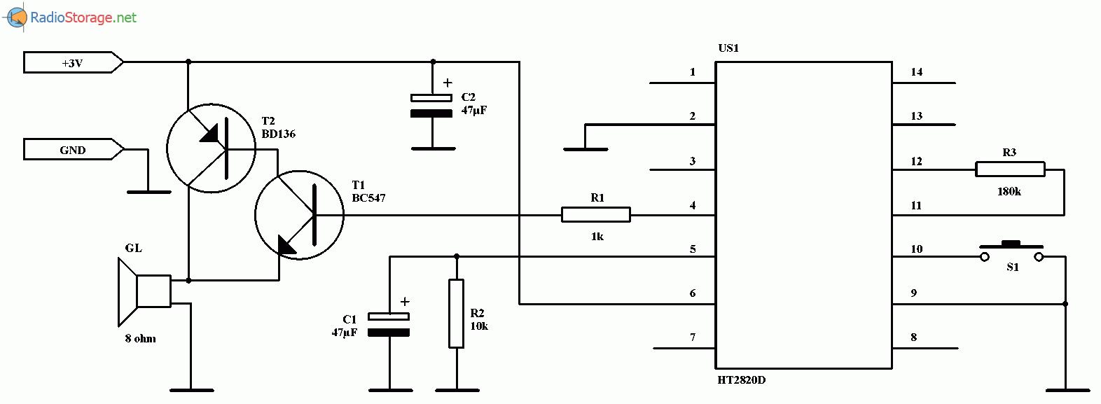 Электронный дверной звонок DING-DONG на микросхеме HT2828D, схема