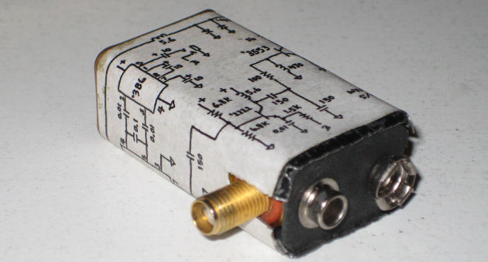QRP трансивер Джеймса Бонда в копусе от батареи КРОНА (40м), схема