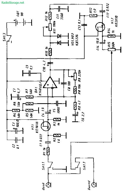 Схема дисторшн приставки на КП303, К140УД7