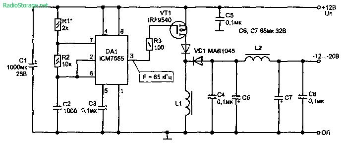 Схема повышающего напряжение инвертора напряжения