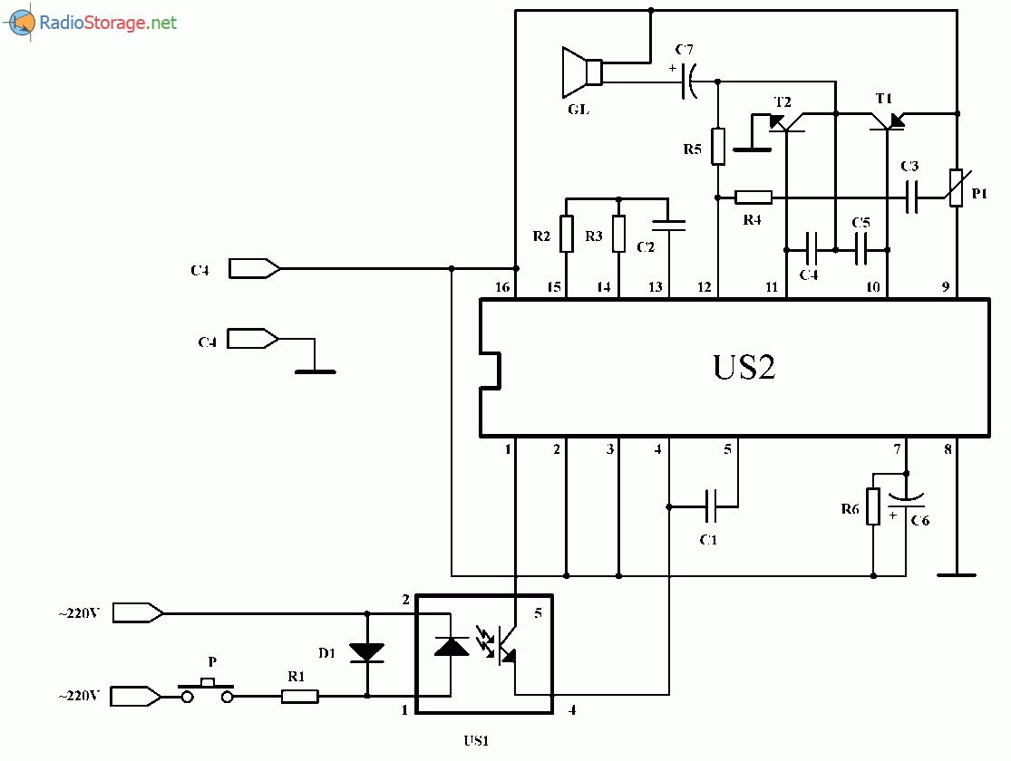 Музыкальная шкатулка и дверной звонок на 12 мелодий (UM3482A), схема