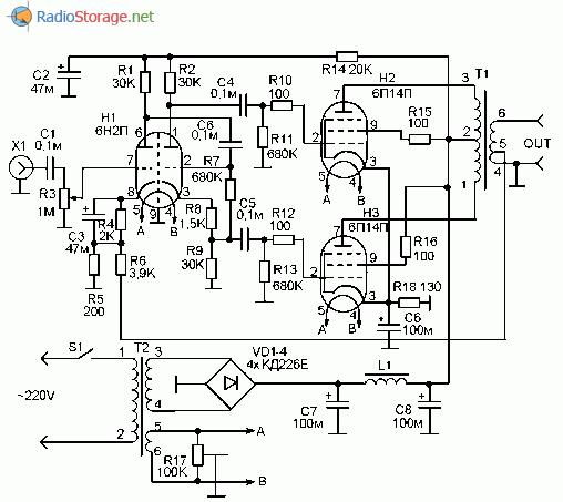 Принципиальная схема простого лампового усилителя мощности на 20 Ватт, 6Н2П, 6П14П