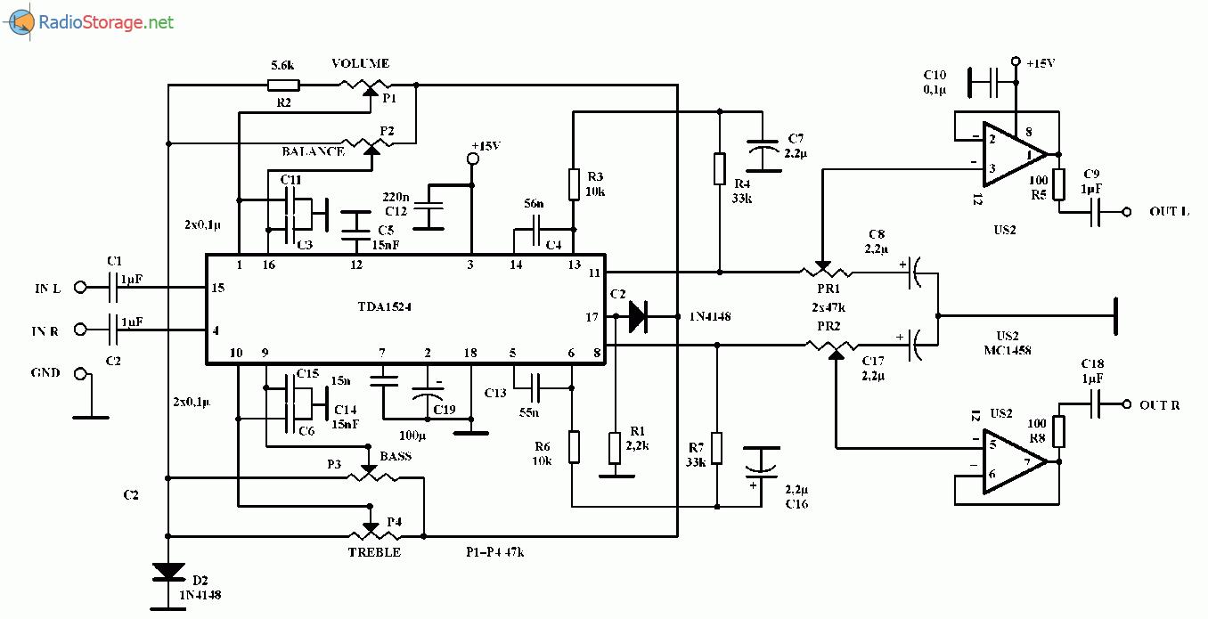 Стерео предусилитель с регулировкой тембра, громкости и баланса (TDA1524A), схема