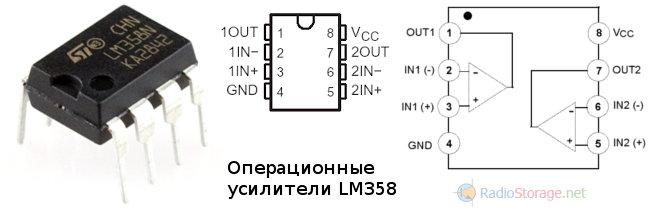 Микросхема LM358 - внешний вид и расположение выводов
