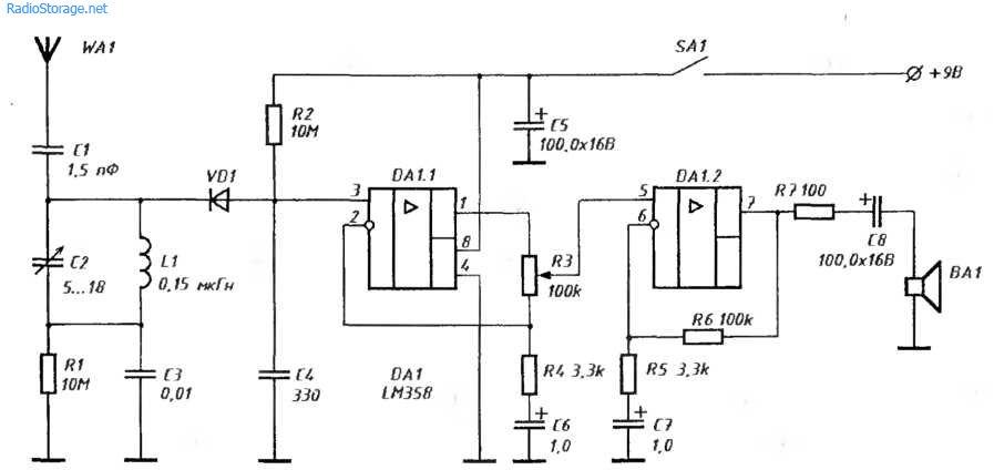 УКВ приемник прямого усиления на микросхеме LM358