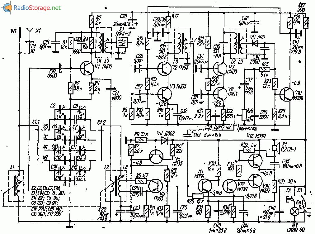 Четырехдиапазонный КВ приемник на 12 транзисторах