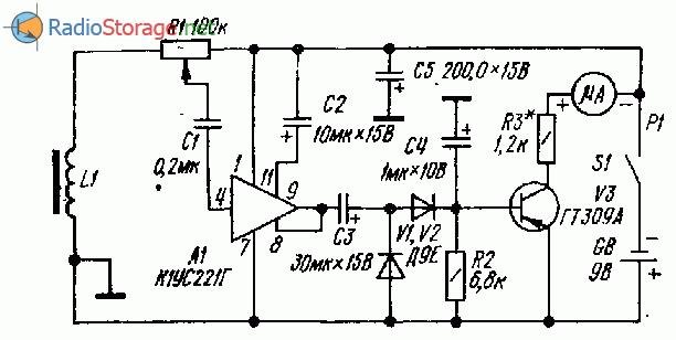 Прибор для обнаружения скрытой проводки на микросхеме К1УС221Г