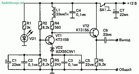Схема широкополосного генератор шума ЗЧ на двух транзисторах