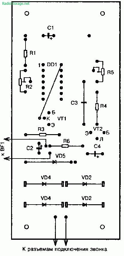 Схема мелодичного звонка для дискового телефона (К176ЛА7)