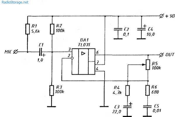 Схема микрофонного предусилителя